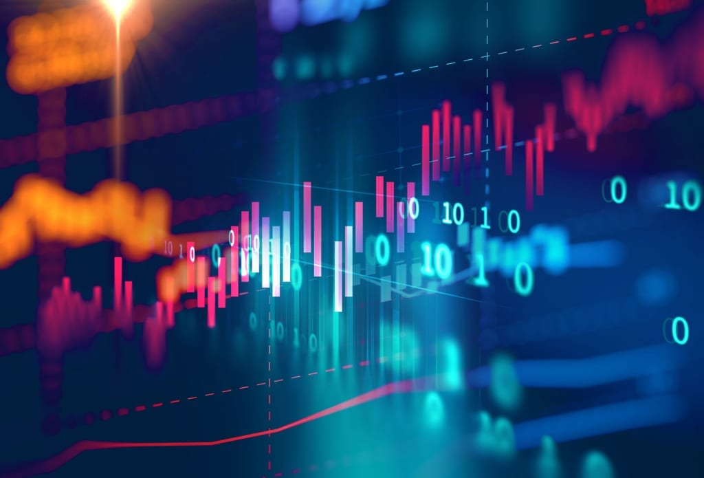 Technical-financial-data-graph-on-abstract-background